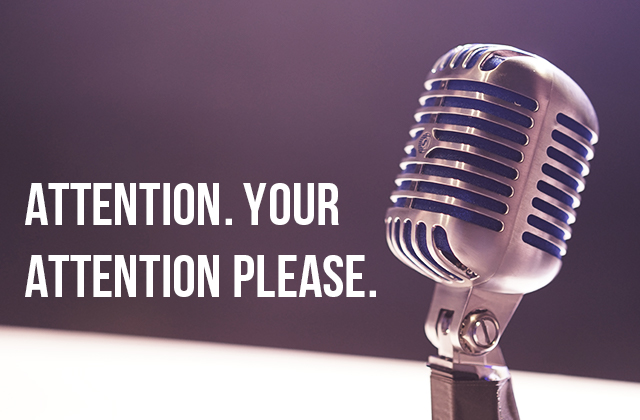 Attention. Your attention please.