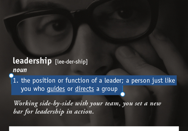 leadership  [lee-der-ship]  