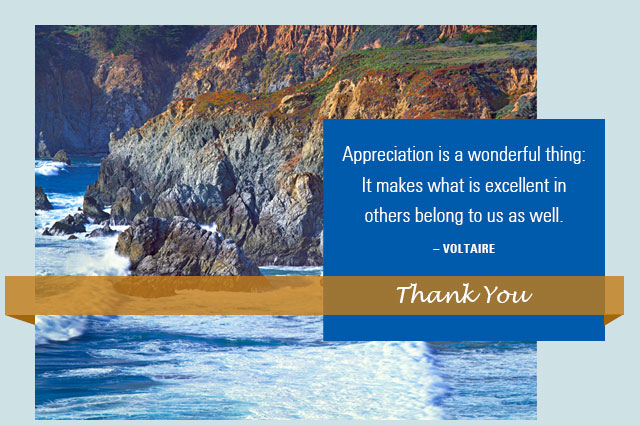 Thank You - Appreciation is a wonderful thing: It makes what is excellent in others belong to us as well. -- Voltaire