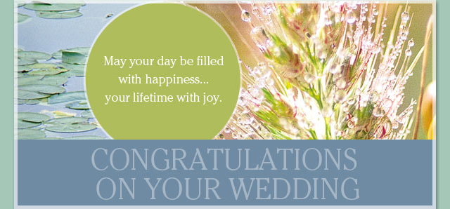 Congratulations on Your Wedding - May your day be filled with happiness...your lifetime with joy.