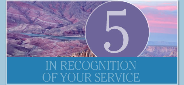 In recognition of your service - 5 years