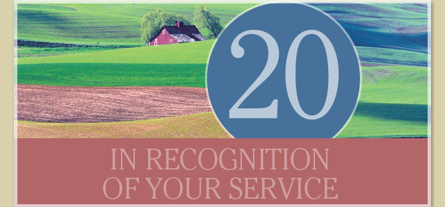 In recognition of your service - 20 years