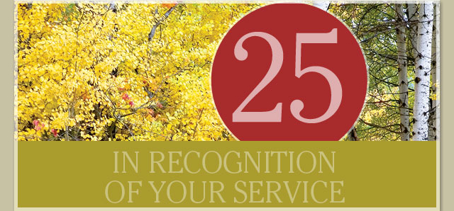 In recognition of your service - 25 years