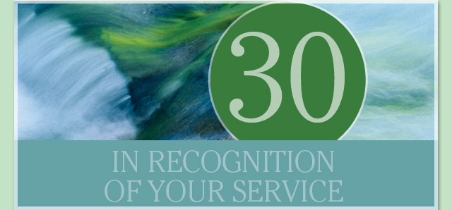 In recognition of your service - 30 years