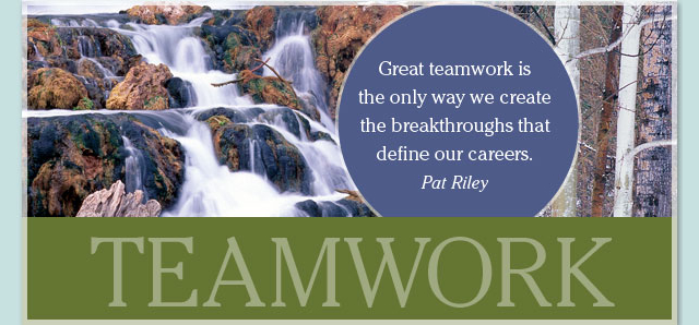 Teamwork - Great teamwork is the only way we create the breakthroughs that define our careers. -- Pat Riley