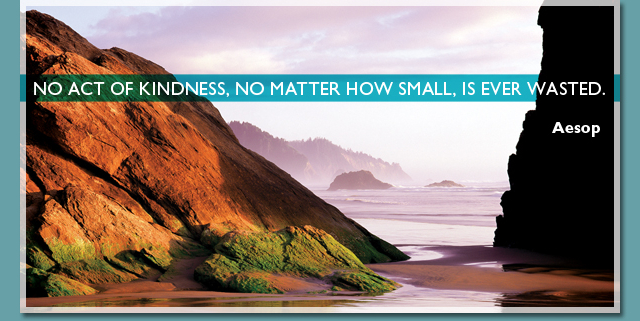 No act of kindness, no matter how small, is ever wasted. -- Aesop