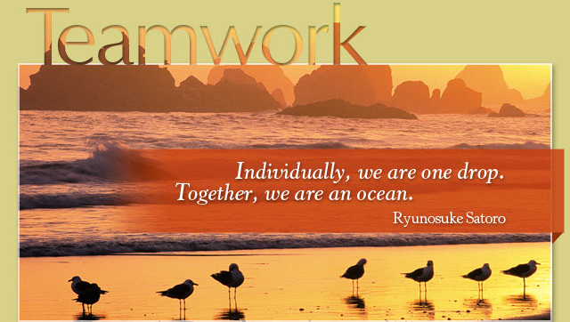 Teamwork - Individually, we are one drop. Together, we are an ocean. -- Ryunosuke Satoro