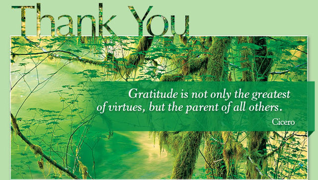 Thank You - Gratitude is not only the greatest of virtues, but the parent of all others. -- Cicero