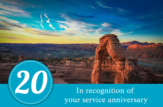 20 years. In recognition of your service anniversary.