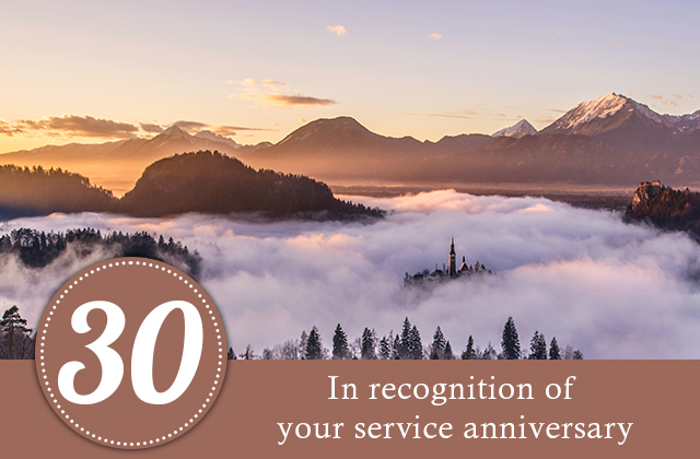 30 years. In recognition of your service anniversary.