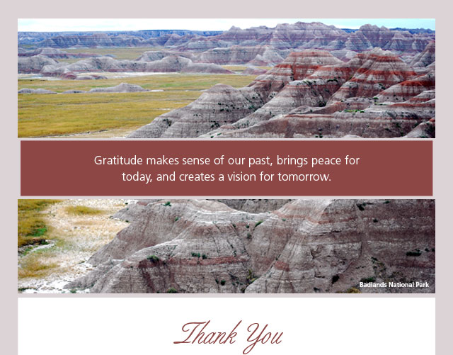 Thank You - Gratitude makes sense of our past, brings peace for today, and creates a vision for tomorrow.