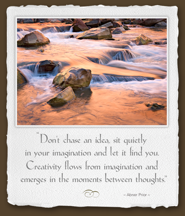 Don't chase an idea, sit quietly in your imagination and let it find you. Creativity flows from imagination and emerges in the moments between thoughts. --Abner Prior