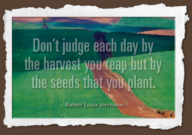 Don't judge each day by the harvest you reap but by the seeds that you plant. -- Robert Louis Stevenson
