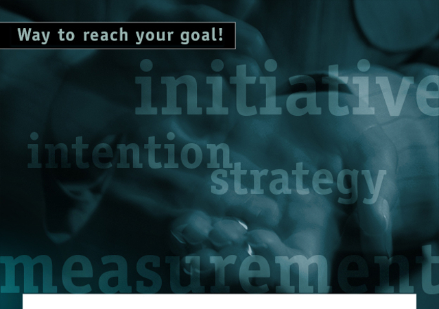 initiative, intention, strategy, measurement, continuity... Way to reach your goal!