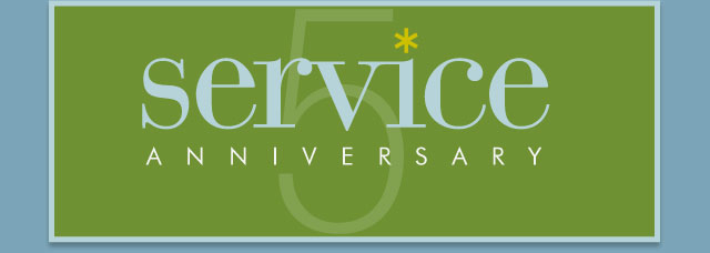 Congratulations on your service anniversary - 5 years