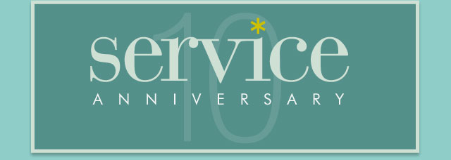 Congratulations on your service anniversary - 10 years