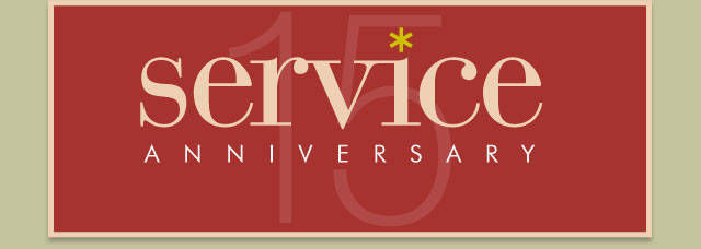 Congratulations on your service anniversary - 15 years
