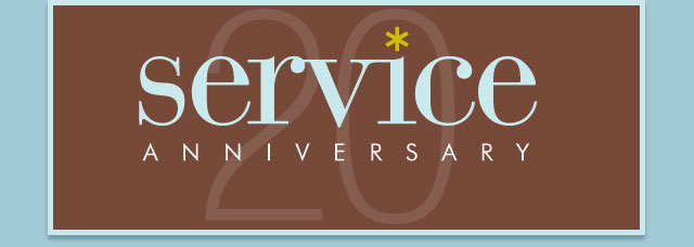 Congratulations on your service anniversary - 20 years